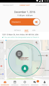 Mobile users can be checked in remotely by simply entering a specific zone shown on the app's dashboard map