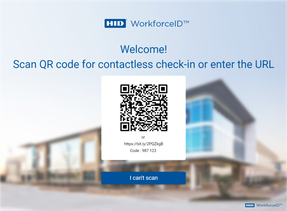 HID Visitor Management Solutions screenshot: WorkforceID Visitor Manager contactless check-in