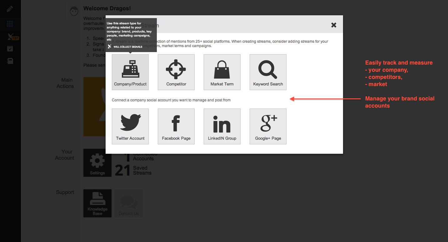 Add a stream/manage social account