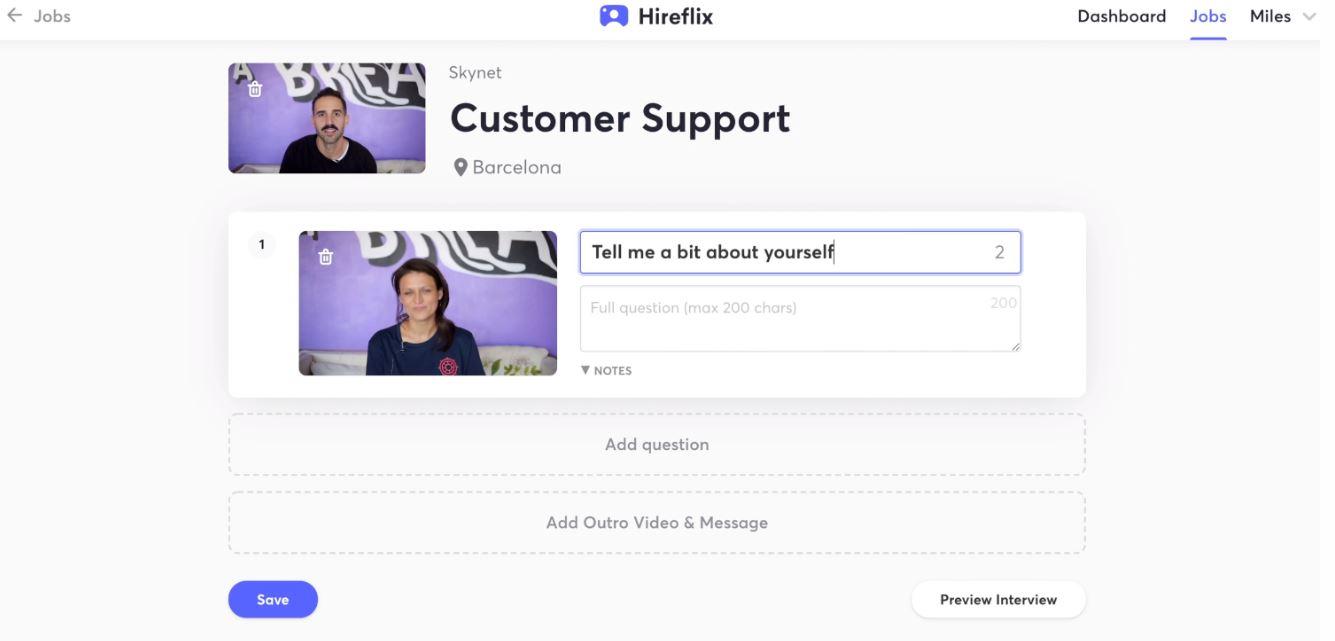 Hireflix customer support interface