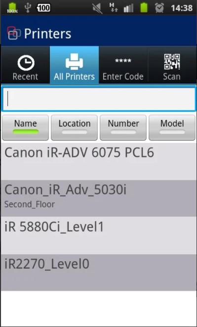 uniFLOW Software - uniFLOW printers list