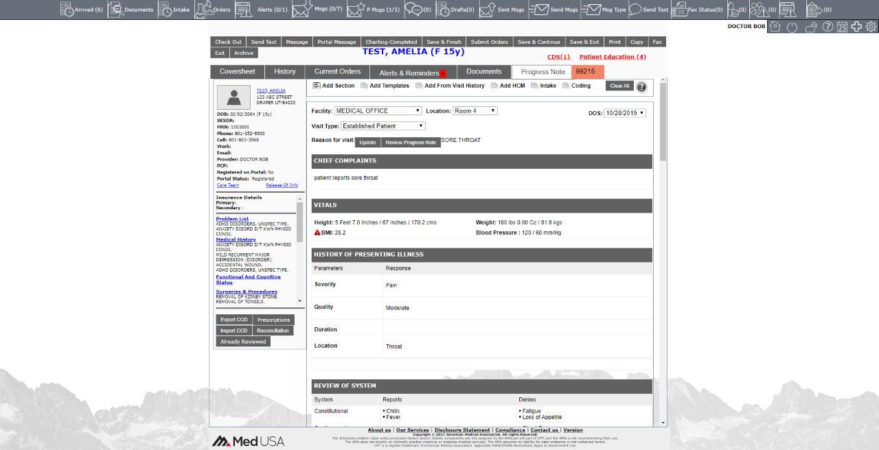 EMR Note Screen