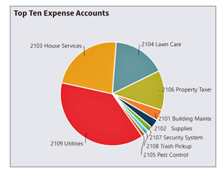 View the top ten expense accounts for the entire organization or for individual dimensions