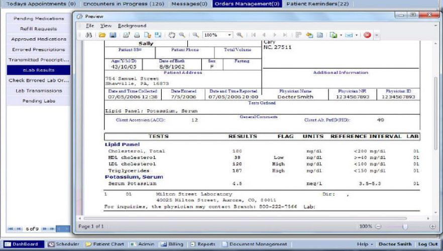 eLab interface