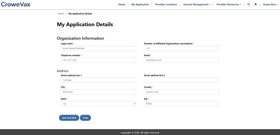 CroweVax application details