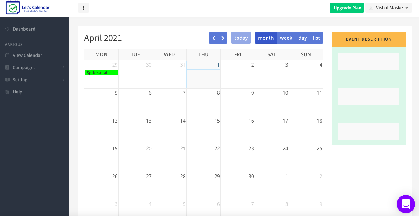 Let's Calendar calendar