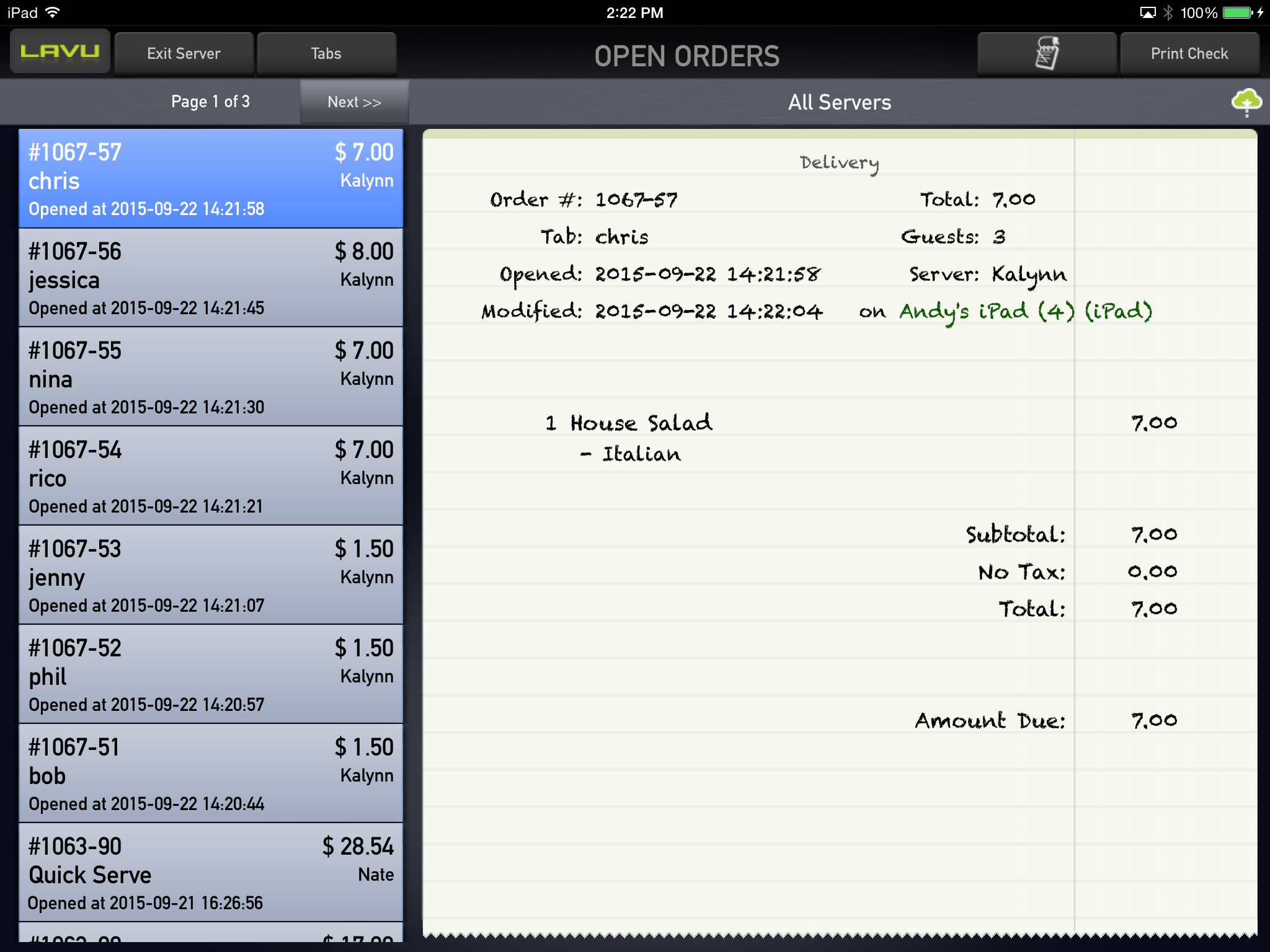 Lavu POS Software - Scroll through open orders.