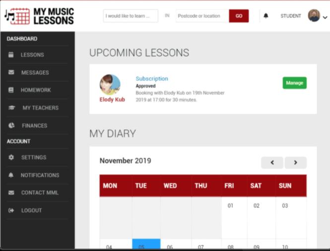 My Music Lessons calendar