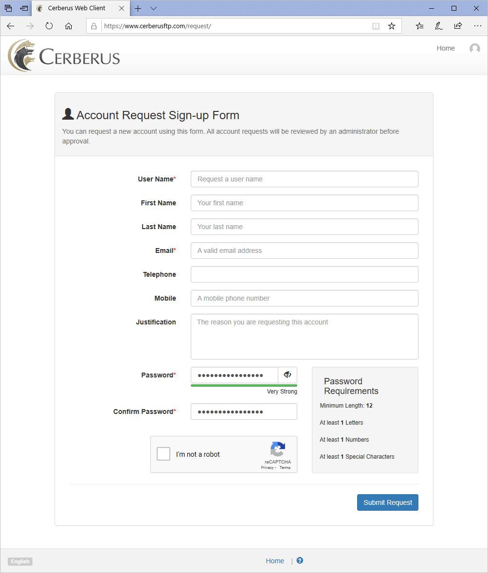 Cerberus Web Account Requests