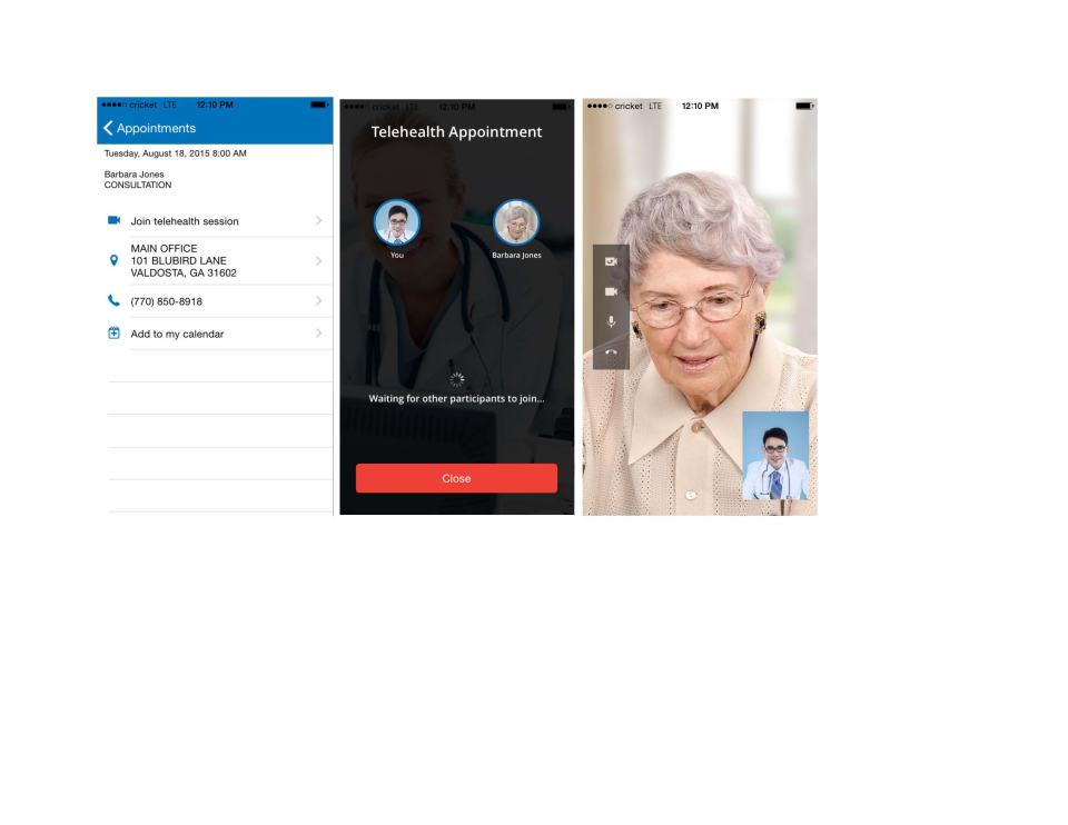 The Telehealth module allows patient/doctor consultations to be carried out online via video chat