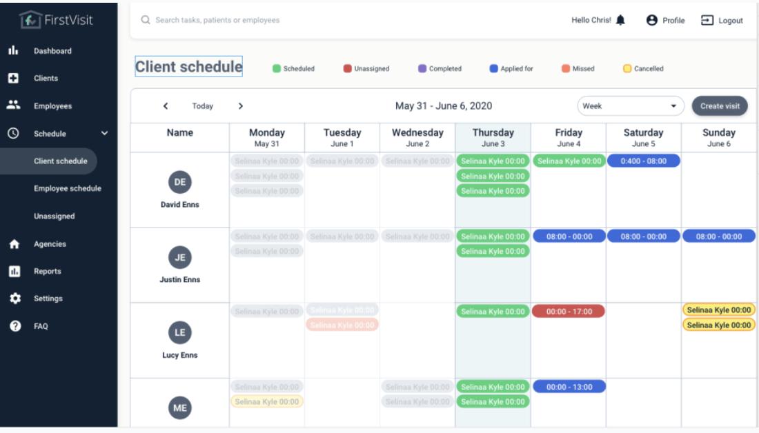 FirstVisit - client schedule
