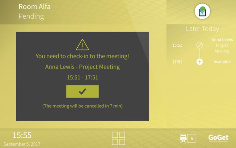 Room Display 6 meeting reminder