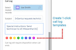 InGenius screenshot: Automated log templates for easy, standardized call notes.
