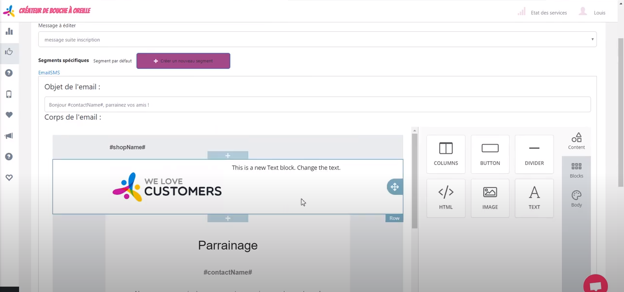 We Love Customers custom email creation