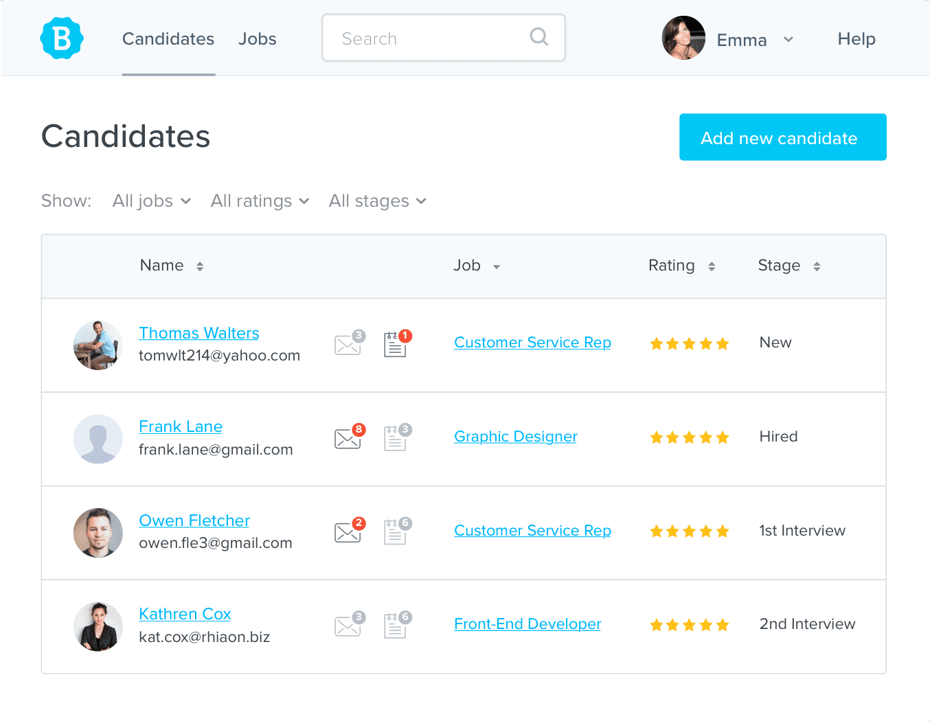 Betterteam allows users to manage all applicants centrally, and filter to view only applicants associated with a specific job, or in a particular hiring stage