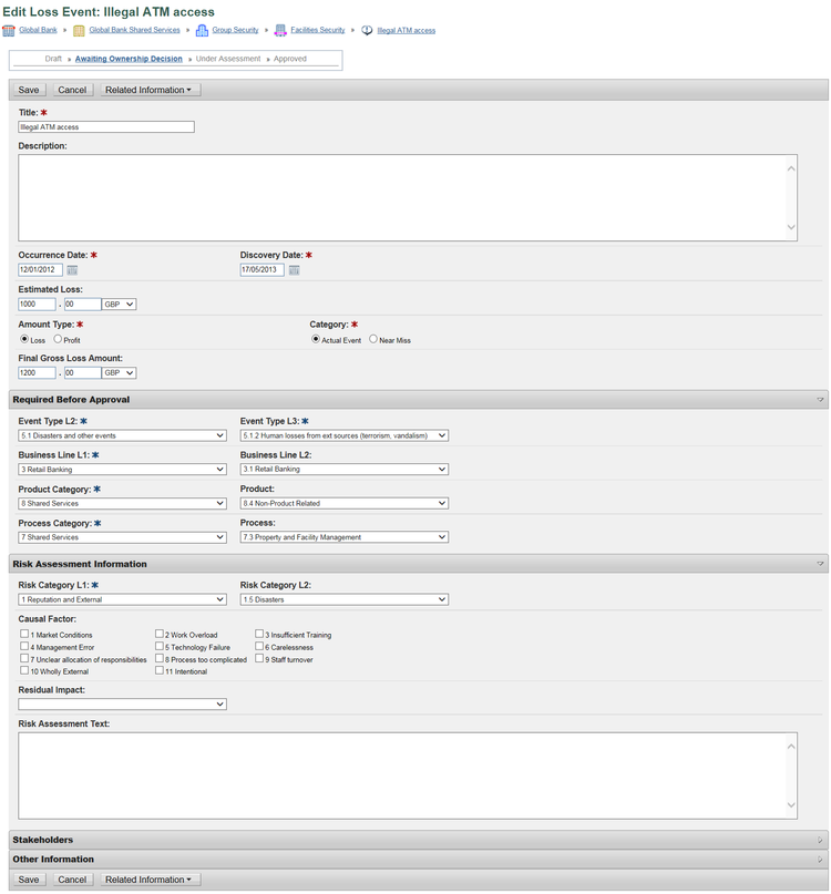 Example of an incident entry form with multiple input fields