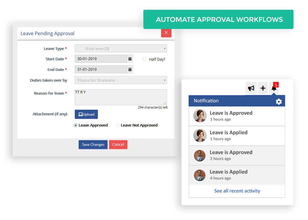The workflows can be configured to send notifications to managers for all new leave submissions and also to team members upon approval or rejection, making the whole process smooth and fast moving.