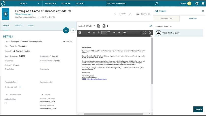 Elise ECM screenshot: Elise ECM business process management