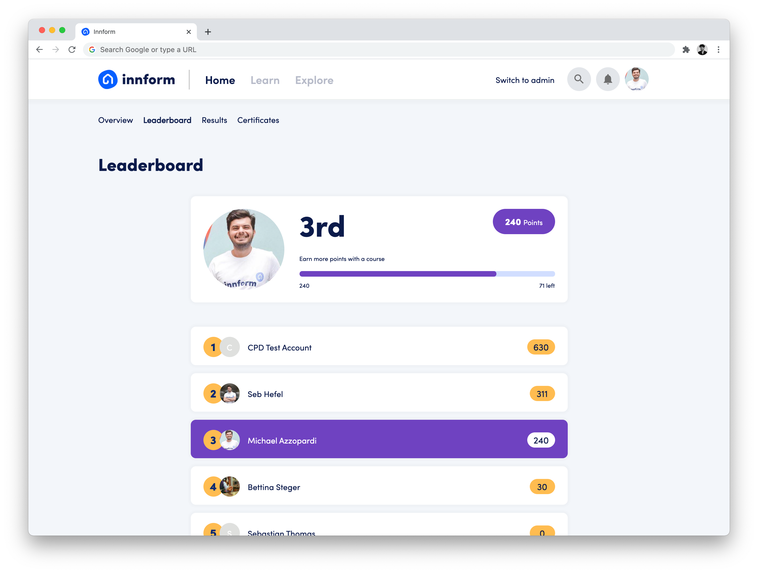 Innform's gamification features