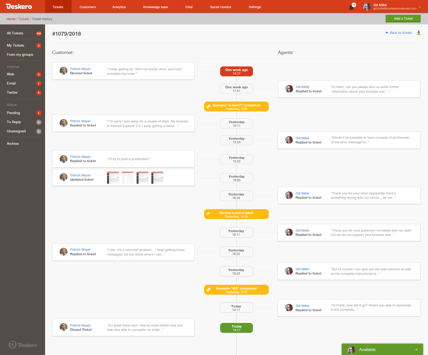 Ticket timeline view allows you to see a log of all activities regarding a ticket