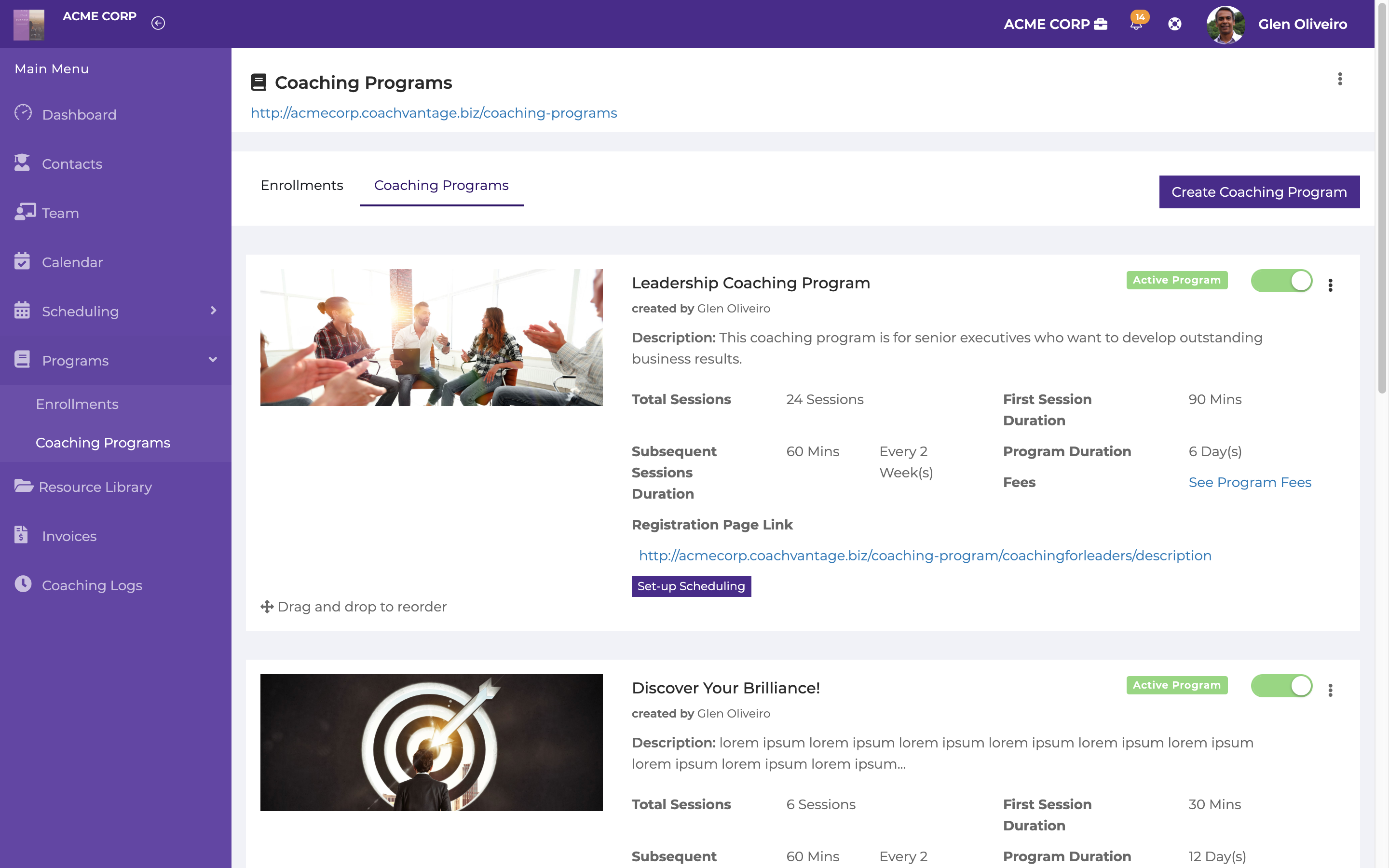Create and sell your coaching programs online. Creating your coaching programs in CoachVantage is done through simple form filling.