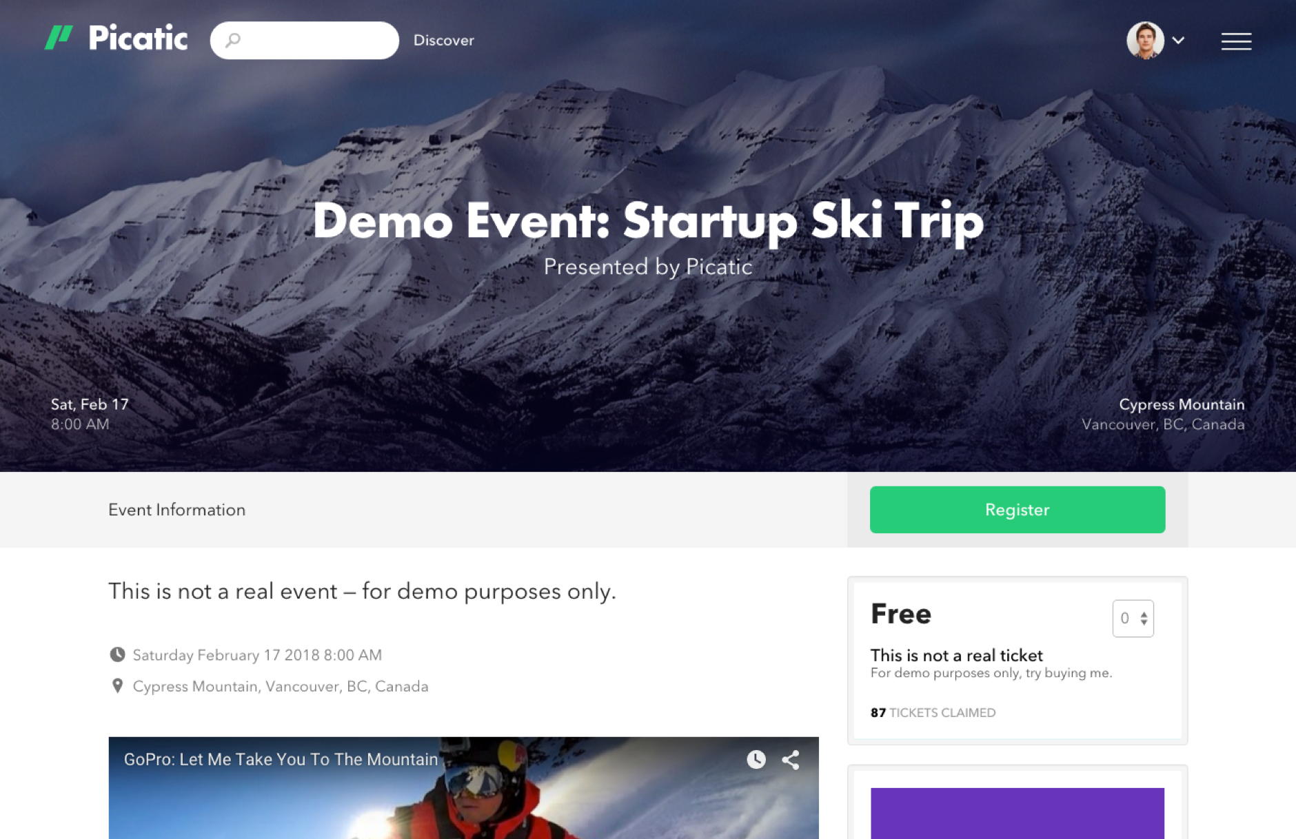 Picatic Event Pages. Promote your unique event page link and sell tickets or collect registrations.