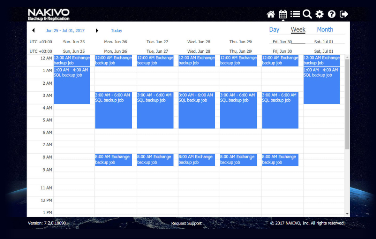 NAKIVO Backup & Replication calendar dashboard