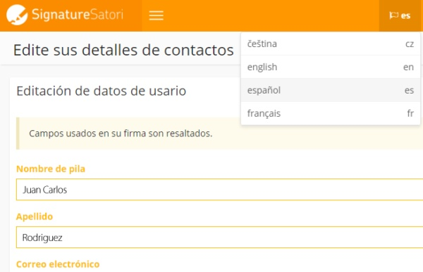 SignatureSatori set up language
