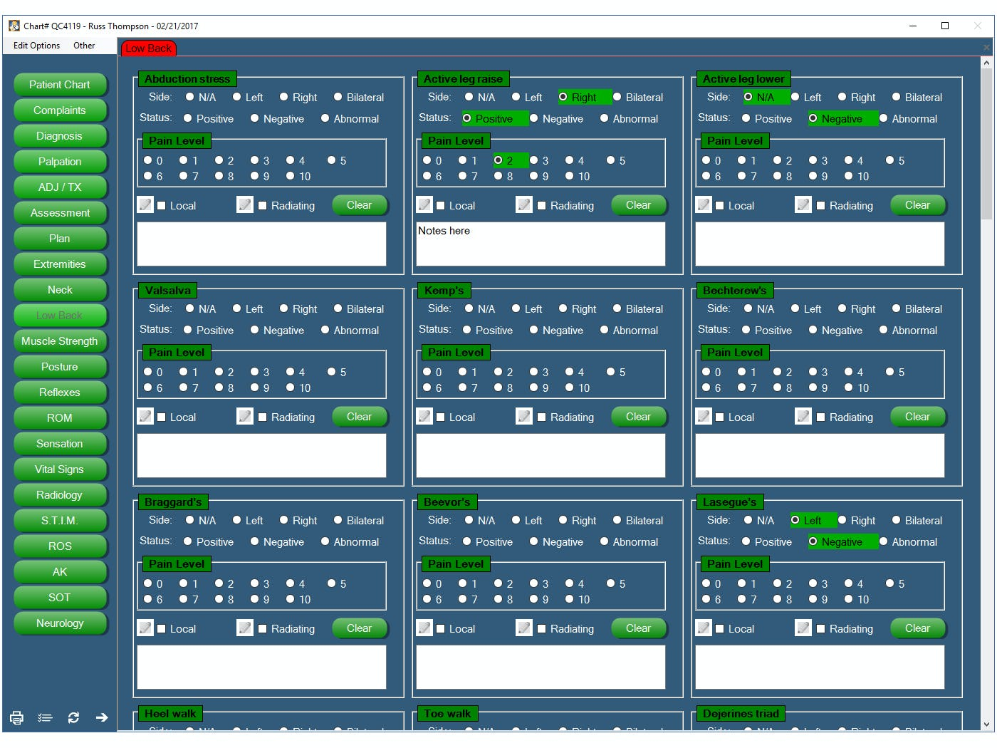 Chiro QuickCharts Software - Low back test screen