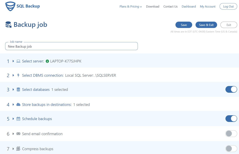 Backup job settings page