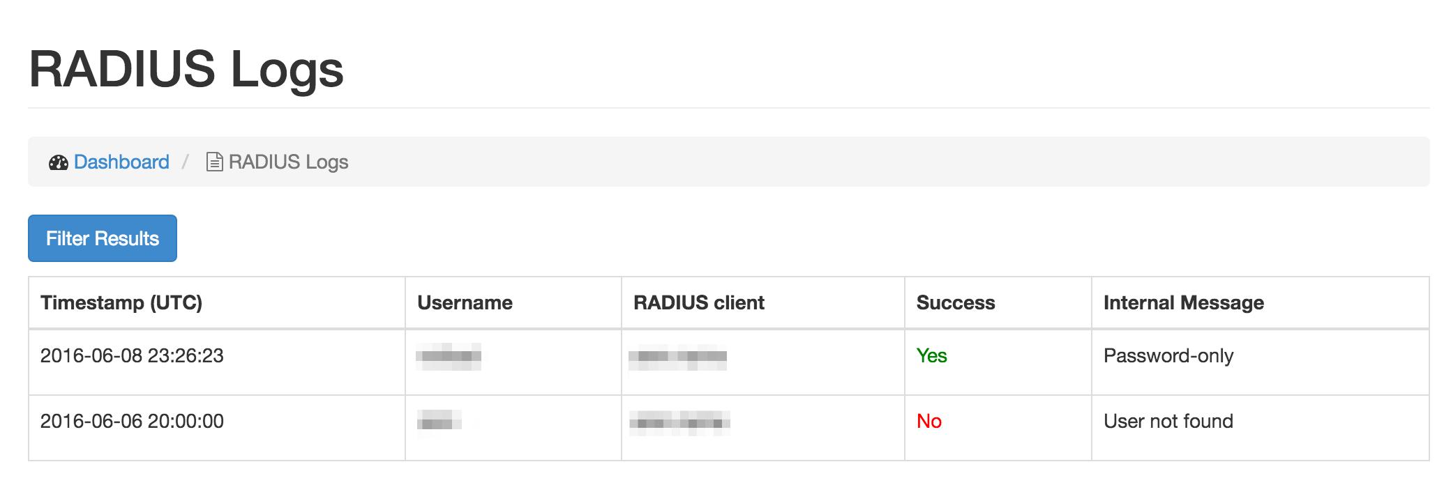 Foxpass RADIUS logs screenshot