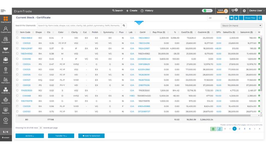 DiamTrade cloud stock