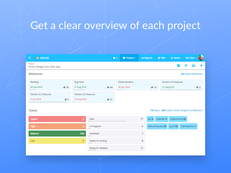Get a detailed overview of each project including milestones, tickets, fixes, and more