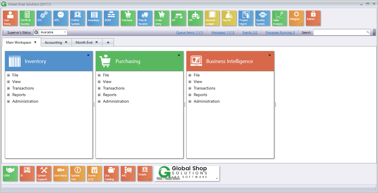 Global Shop Solutions Software - Global Shop Solutions Main Workspace