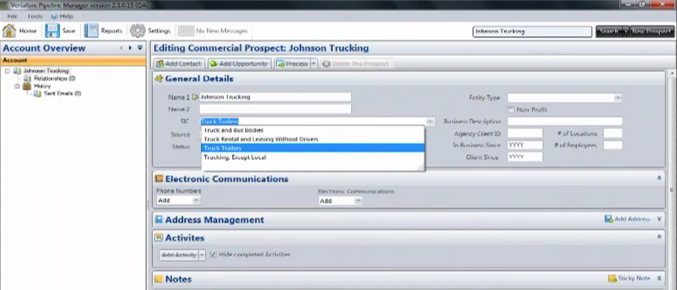 Vertafore Pipeline Manager Software - Custom fields