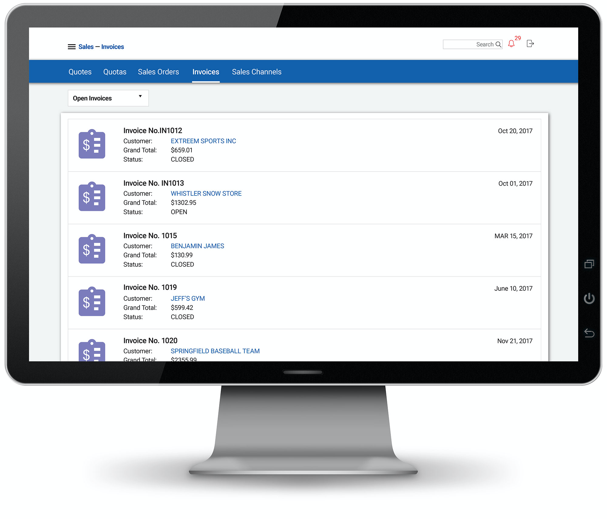 See invoices, bills and quotes, and view purchase orders
