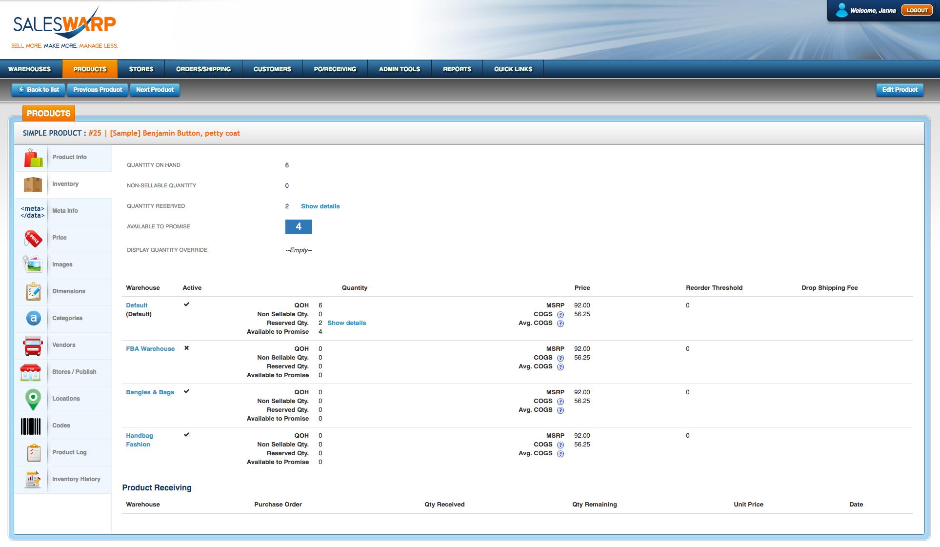 SalesWarp screenshot: SalesWarp - Inventory