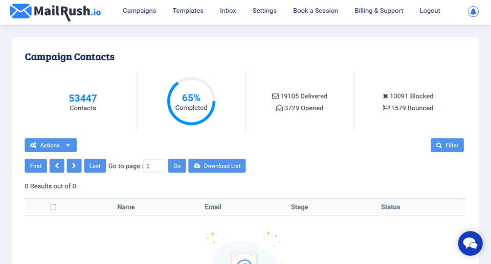 MailRush.io Software - Contact Management