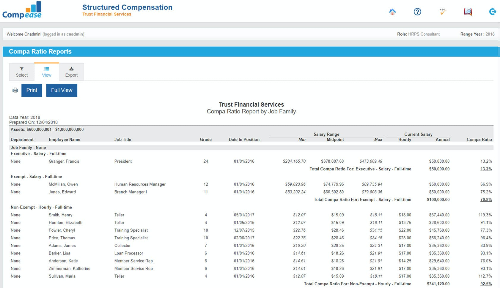 Compease Software - Compease ratio reporting