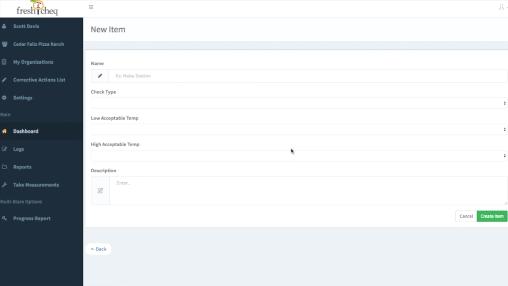 FreshCheq Software - Adding a new item