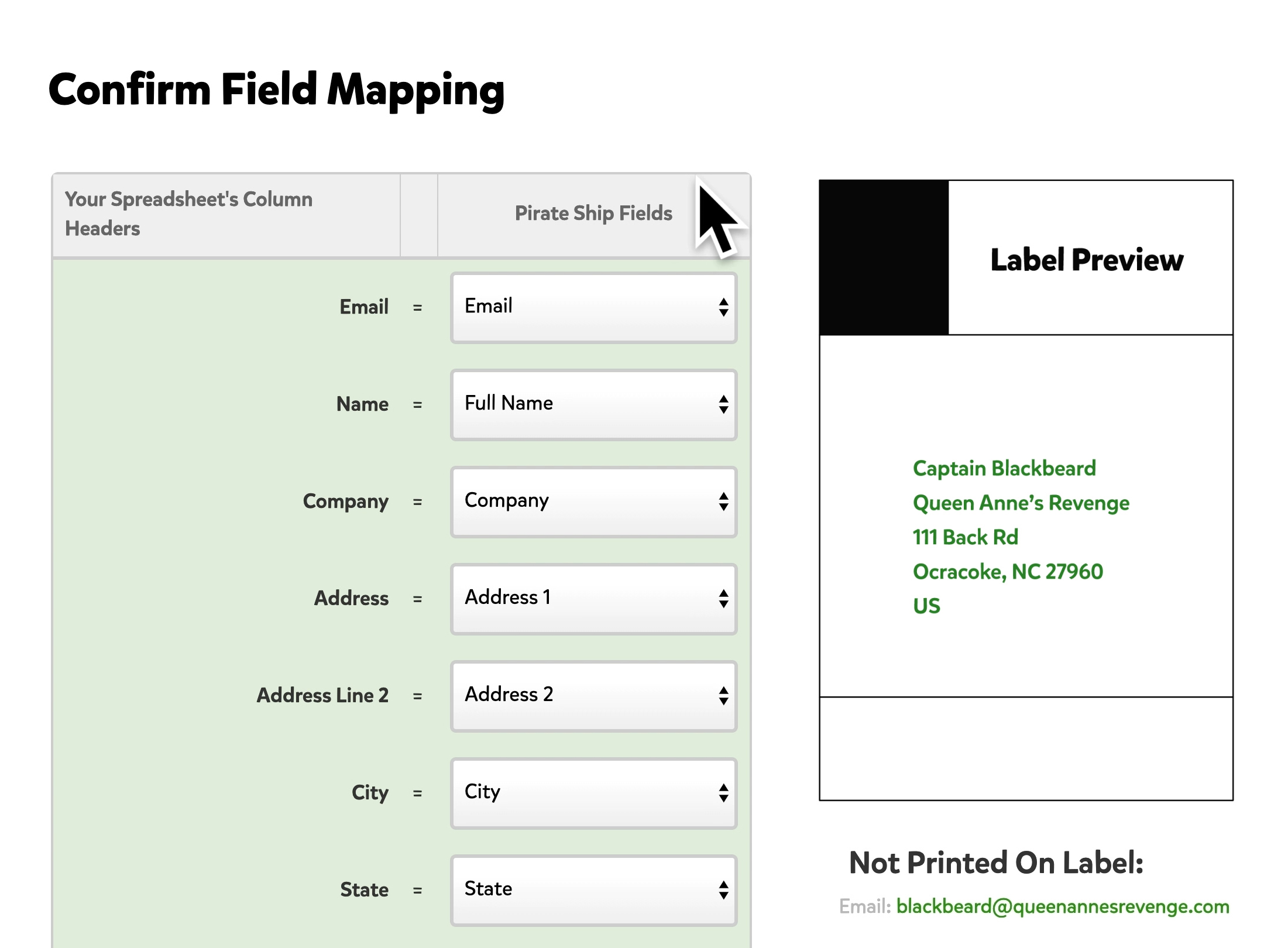 Pirate Ship field mapping