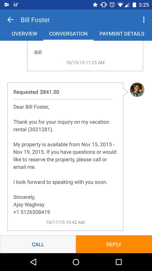 Users can respond to inquiries, send out quotes and request payments from within Escapia's app