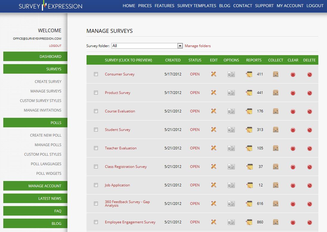 SurveyExpression screenshot: Manage surveys