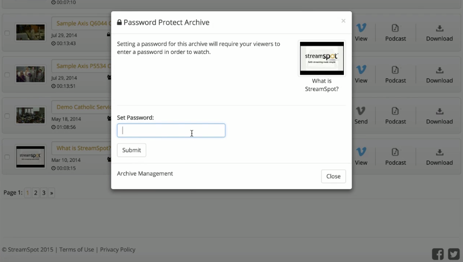 Set a password to particular archives to limit access