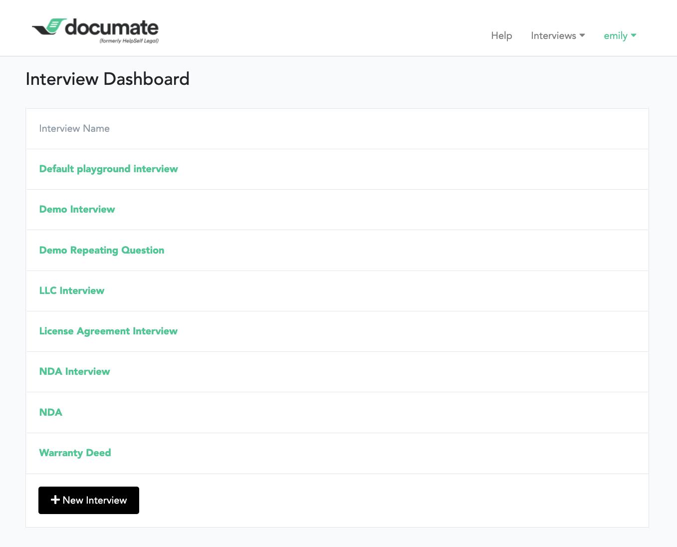 Documate dashboard