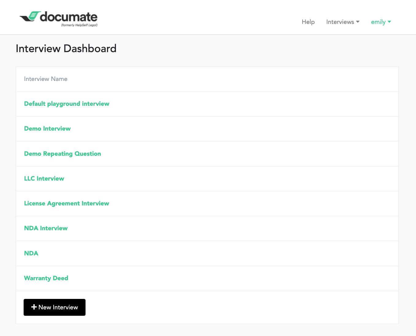 Documate Software - Documate dashboard
