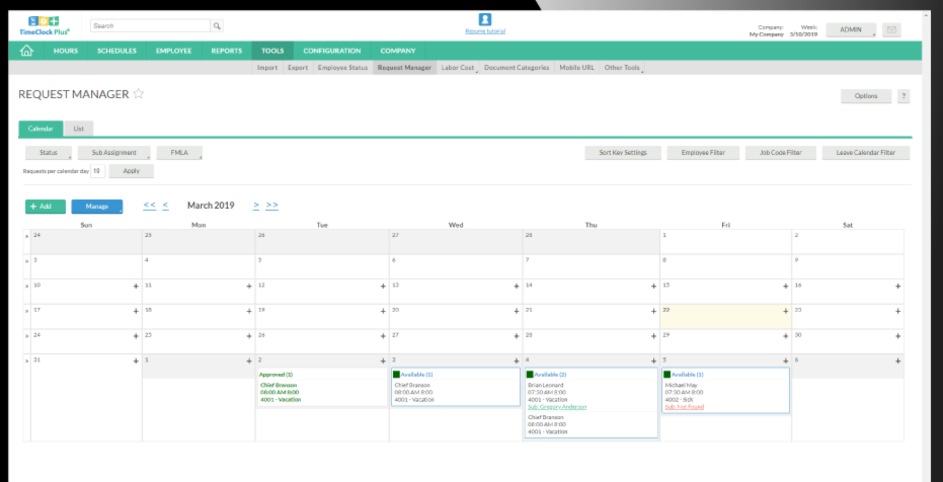 Managers can view leave schedules in a calendar, list, or dashboard widget