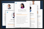 Capture d'écran pour Lyra : Upon logging in, users can view the details of various therapists