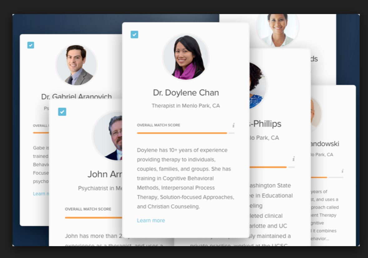 Upon logging in, users can view the details of various therapists