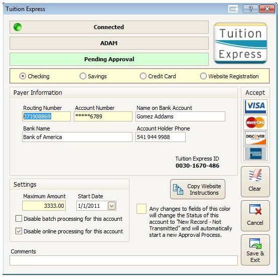 Procare tution express payments processing page
